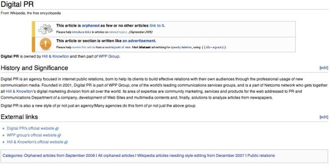 Wikipedia entry on Digital PR